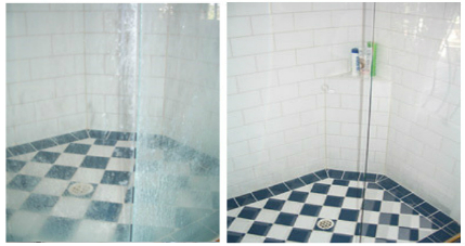 Before After Shower glass restoration from GroutPro Tile and Grout Cleaning Specialists