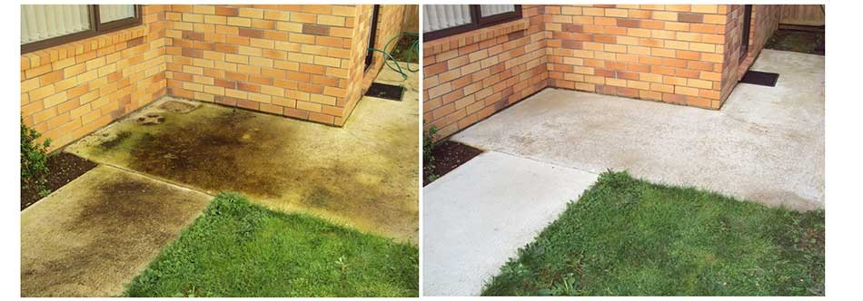 Exterior cleaning of concrete pathway photograph's of before thorough clean and after thorough clean