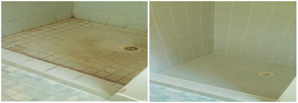 Shower floor and wall refurbishment using Epoxy re-grouting service and ColourSeal before and after photo's