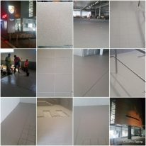 Collage of an enormous epoxy grouting job in Melbourne's Porsche showroom