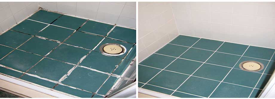 Shower floor and wall re-grout using Epoxy grouting as well as silicone replacement, photographs show the before and after of the job