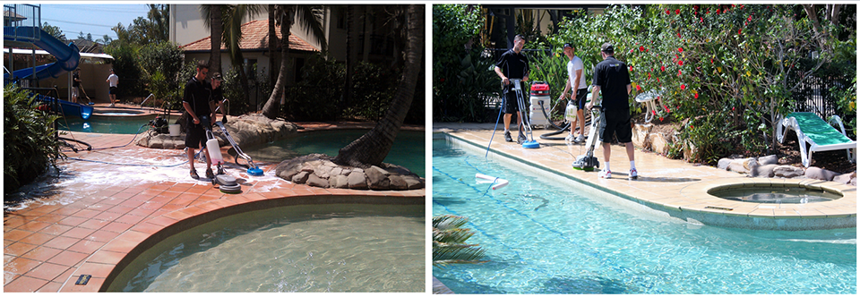 Anti-slip treatment being applied to poolside areas