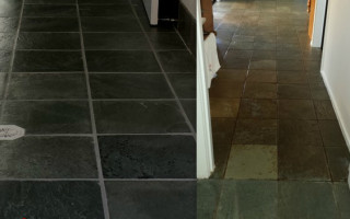 Slate and grout restoration Hallway