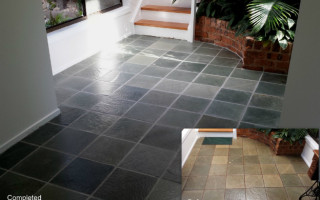 Slate cleaning and grout restoration outdoor area