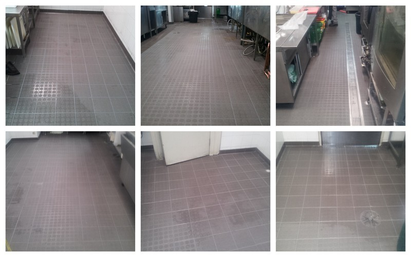 Springwood Sports Commercial kitchen floor after treatment had been completed, these photo's show the finished product