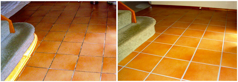 Tiled living area photo's of before a clean and re-grout and after clean and re-grout