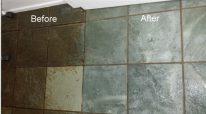 partial clean of slate floor