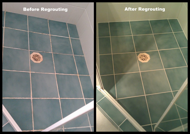 Photographs show the shower base before the Epoxy re-grout and after the re-grout has been completed.