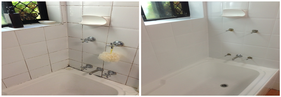 Full tiled bathroom restoration using GroutPro services such as Epoxy re-grouting, silicone replacement and ColourSealing