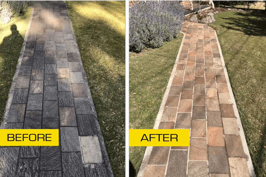 Before and after pathway clean