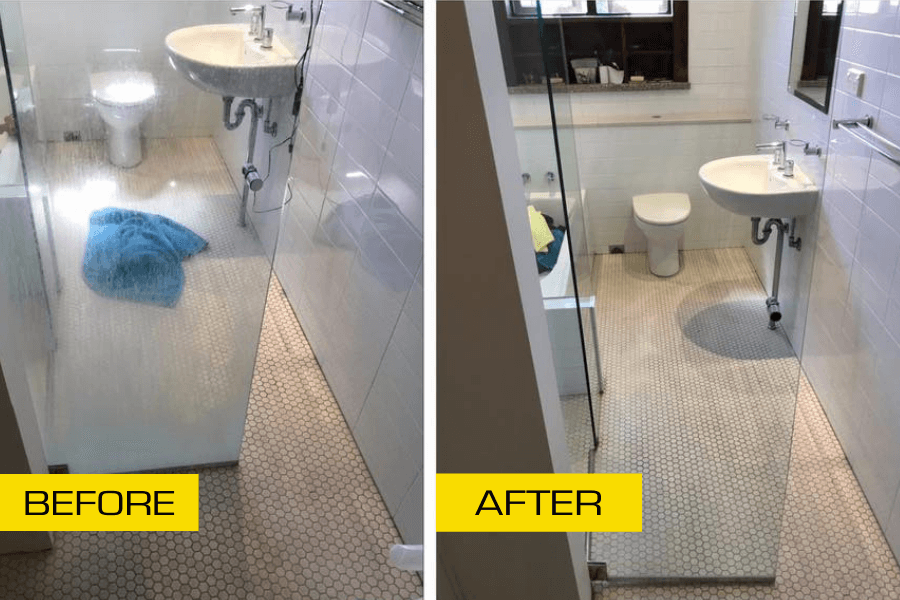 shower screen before and after