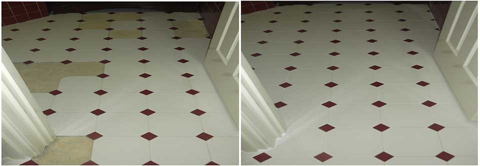 Before and after photo's of damaged tiles and grout repaired