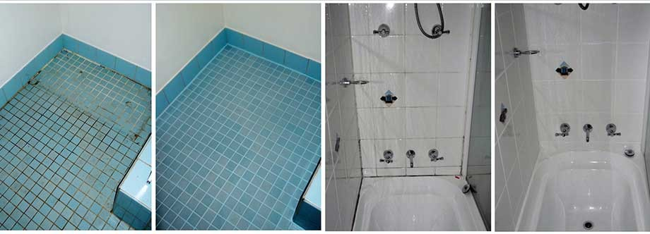 Full bathroom makeover before and after photographs services include silicone replacement, thorough clean and ColourSeal