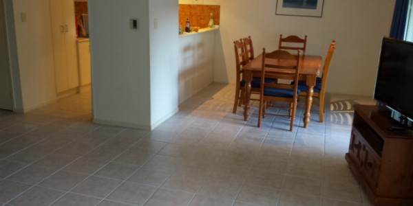 Finished tile repair in kitchen and dining room