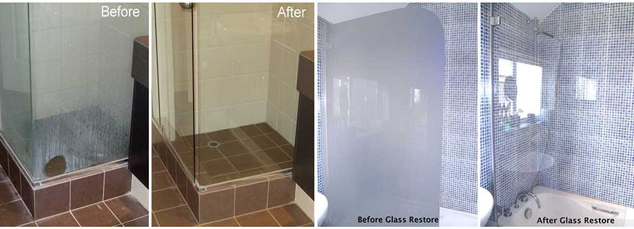 Dirty shower glass photo's of before glass restoration & glass protection and after glass restoration & glass protection