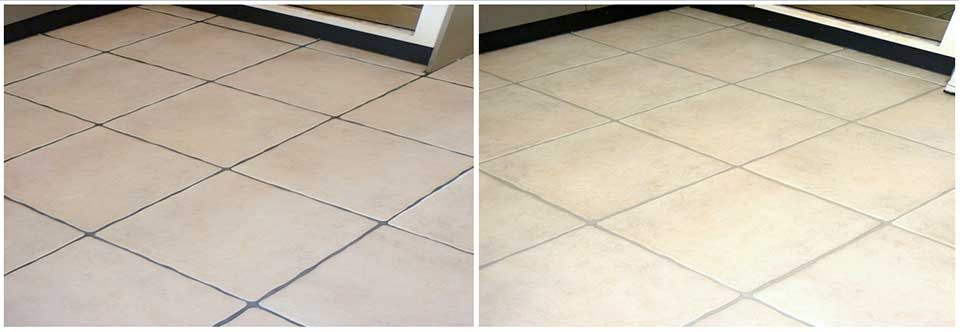 Internal tile and grout clean and grout colouring on floor tiles, photo's of before the service and then after the service had been completed