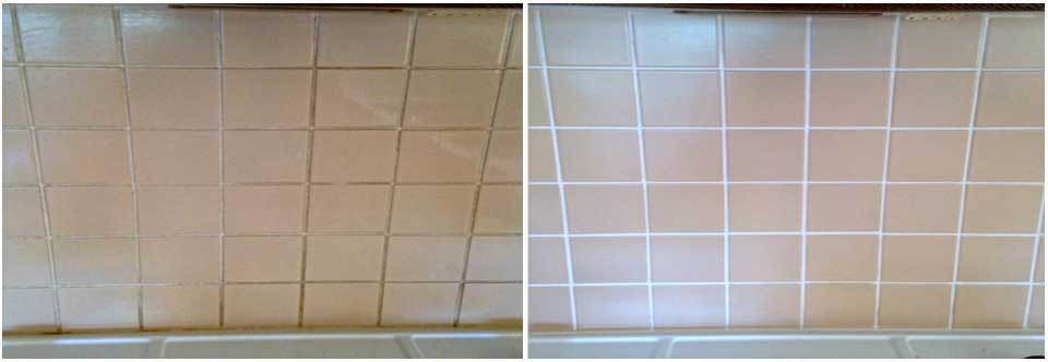 Before and after photo's of a tiled kitchen floor being thoroughly cleaned