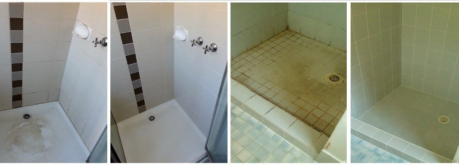 Before and after photo's of a shower floor and wall Epoxy re-grout, silicone replacement and ColourSeal