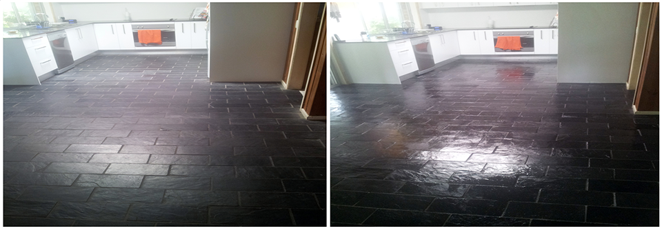 Photograph's show before and after slate tile floor and grout cleaning and sealing