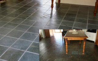 Slate cleaning and grout living area
