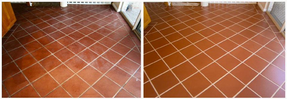 Internal terracotta tiles before and after their GroutPro cleaning and sealing services