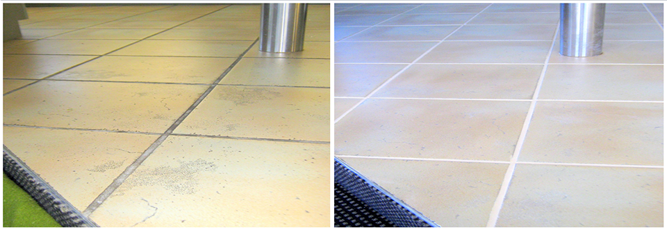 Internal floor tiles and grout being restored through the use of grout colouring, photo's are of before and after the service